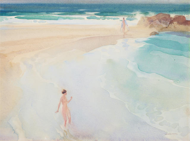 Sir William Russell Flint R.A., P.R.W.S. (British, 1880-1969) Eva's Mock Timidity 24.4 x 33 cm. (9 1/2 x 13 in.)
