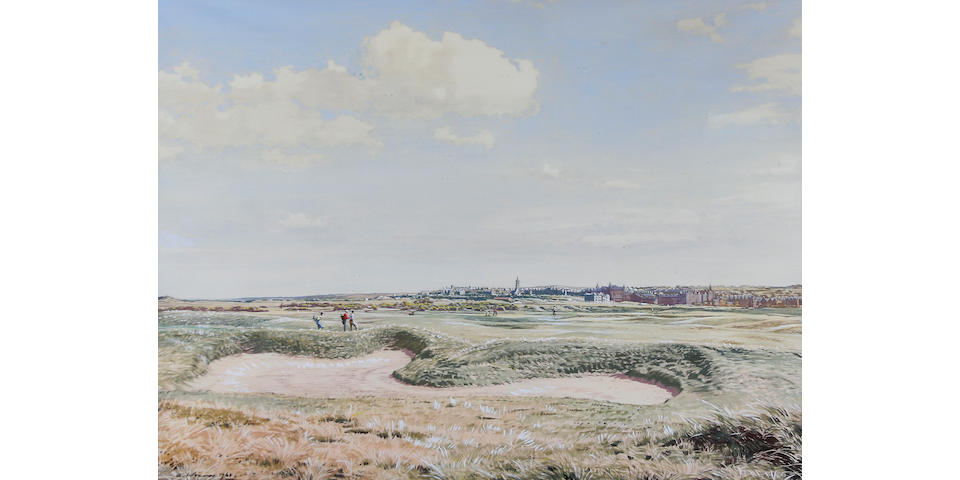 Weaver, Arthur : A Game of Golf, St Andrews 1961 signed and dated lower left, watercolour, framed and glazed,  23 ½ x 17 ½ inches  Probably the best golf artist of the late twentieth century is Arthur Weever. He works mainly in watercolour , presenting favourite holes on famous golf courses: the observer can picture himself playing on the course.