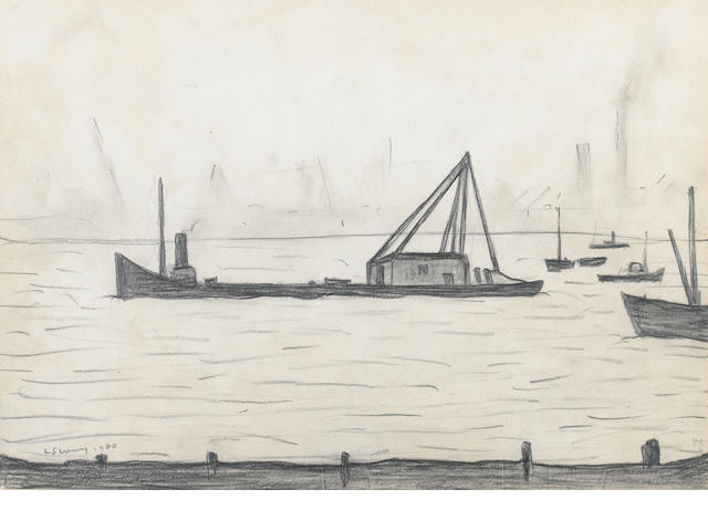 Laurence Stephen Lowry, R.A. (British, 1887-1976) On the Thames at Greenwich 24.5 x 35.5 cm. (9 5/8 x 14 in.)
