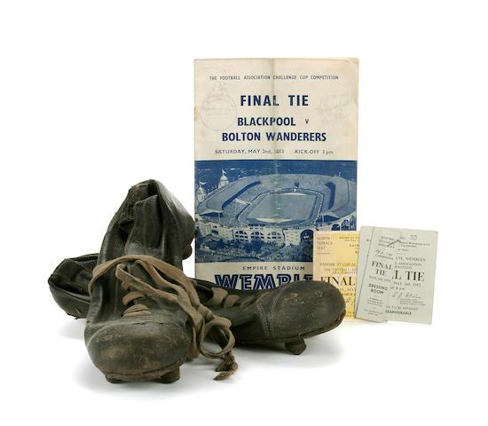 1953 F. A. Cup Final - Stanley Matthews match worn boots