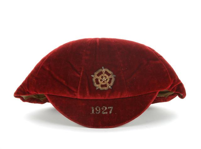 1927 England International Cap awarded to Jimmy Seddon