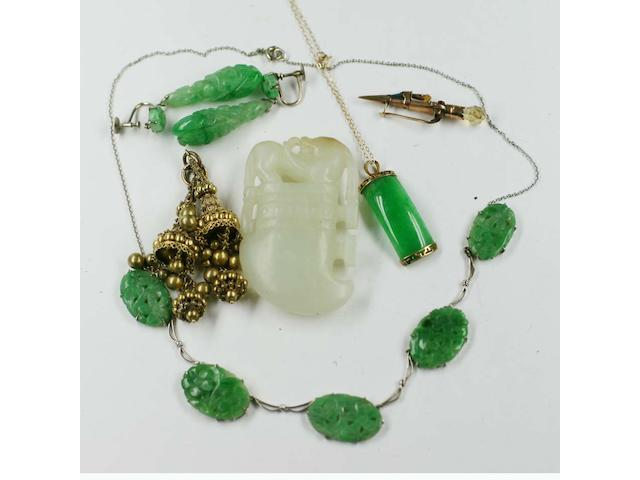 A small collection of jade and hardstone jewellery