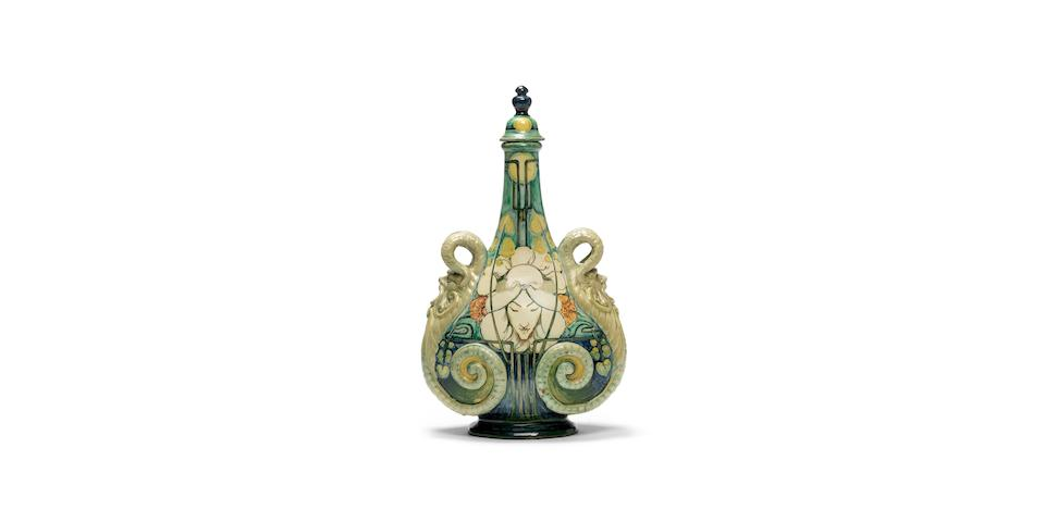 Cassandia Ann Walker for Della Robbia 'Purity and Temptation'  an Art Nouveau twin-handled Bottle Vase and Stopper, 1903