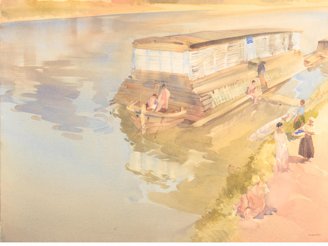Sir William Russell Flint R.A., P.R.W.S. (British, 1880-1969) Work And Play On The Loire 45 x 66 cm. (19 x 26 in.)