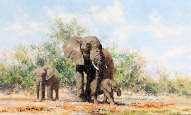 David Shepherd, O.B.E. (British, born 1931) Cow Elephant and Calves