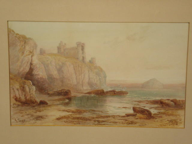John Syer, RI (British, 1815-1885) Castle on a cliff top, possibly East Lothian,