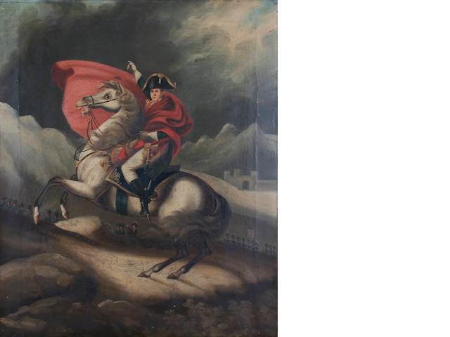 After Jacques-Louis David Portrait of Napoleon Bonaparte mounted on a rearing horse,