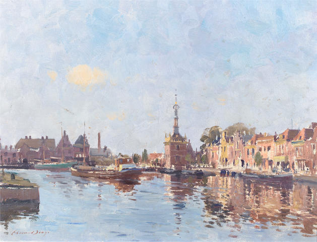 Edward Seago, R.W.S. (British, 1910-1974) The bend in the canal, Alkmaar 51 x 66 cm (20 x 26 in.)