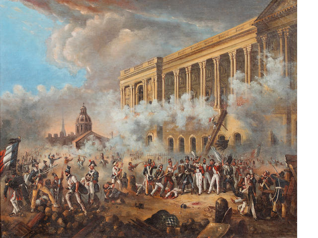 French School, early 19th Century Seige of the Tuileries Palace 1792