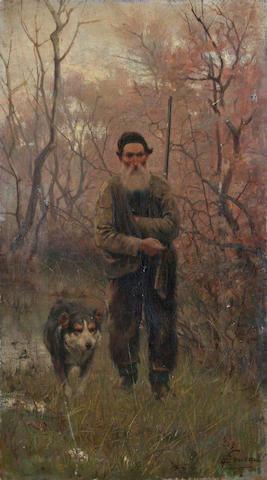Italian school, circa 1870 A peasant huntsman and his dog on a wooded track,