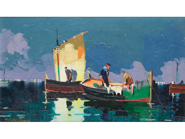 D'Oyly John (British, 1906-1993) 'Evening Fishermen, off Eze, near Monte Carlo, France',