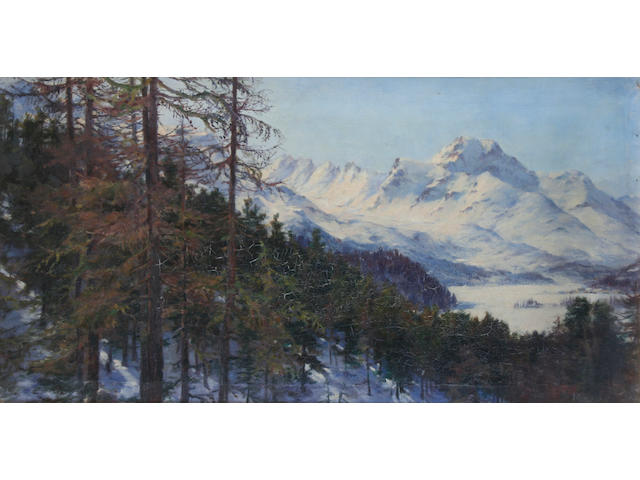 Maria D. Webb Robinson (British, active circa 1874-1910) A snowy mountain landscape, possibly Piz de la Margna, Engadine, Switzerland,