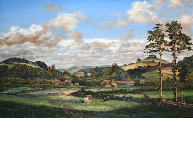 English School (later 19th century) Extensive landscape with cattle grazing,