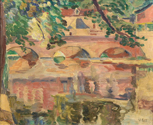 Vanessa Bell (British, 1879-1961) River Reflections 37.5 x 46 cm. (14 3/4 x 18 in.)