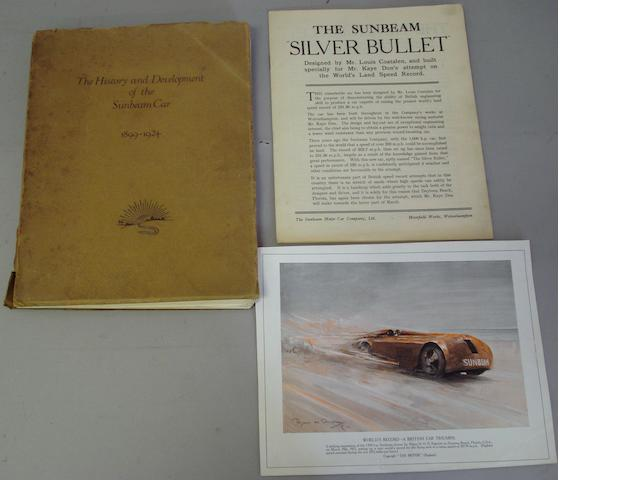 A brochure for 'The History and Development of the Sunbeam Car 1899 - 1924',
