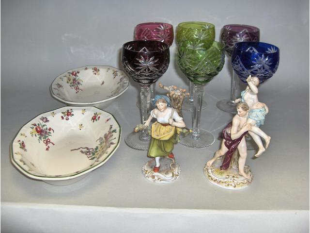 A Meissen figure, a Volkstedt figure, a Royal Doulton 'Old Leeds Spray' part service and sundry glassware