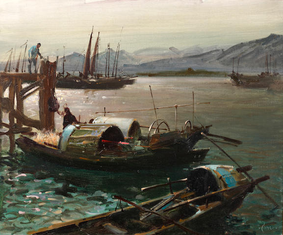 Terence Cuneo (British, 1907-1996) Figures loading barges at dawn, Hong Kong