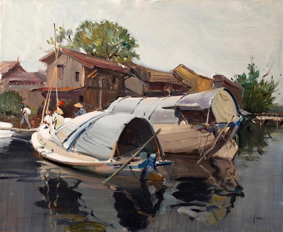 Terence Cuneo (British, 1907-1996) The china clay barges, Bangkok