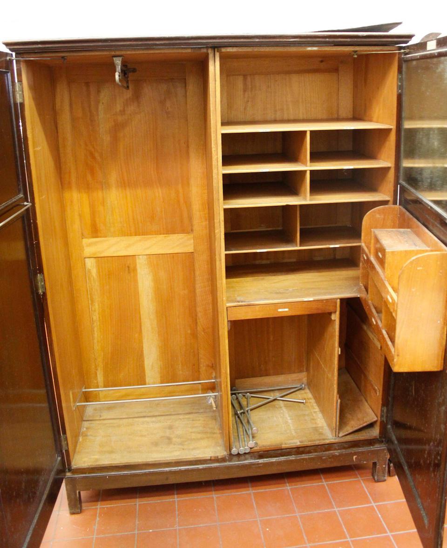 A Georgian style mahogany compactum wardrobe,