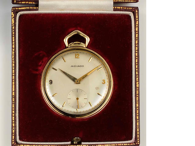 Movado: An 18ct gold slim open faced pocket watch