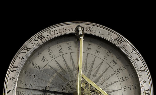 A fine and rare Richard Glynn silver compass sundial, English, circa 1710,