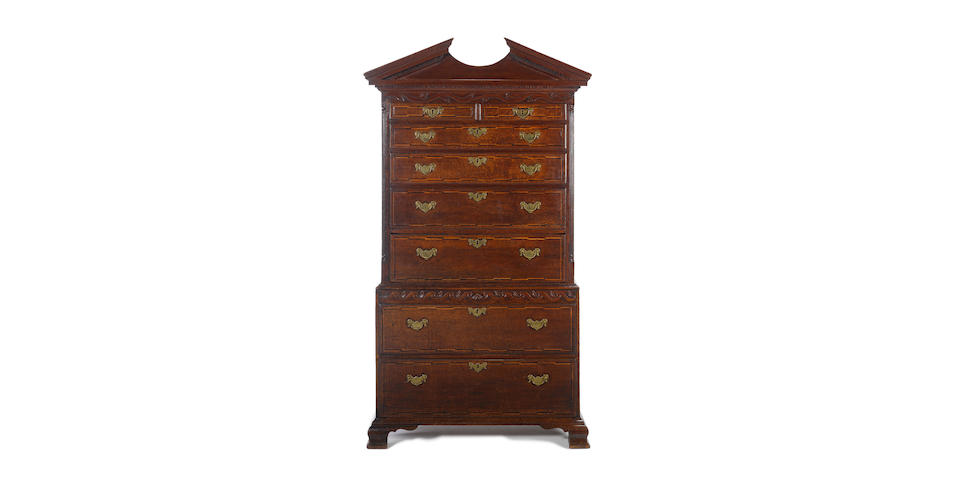 An early George III oak and chequer banded chest on chest