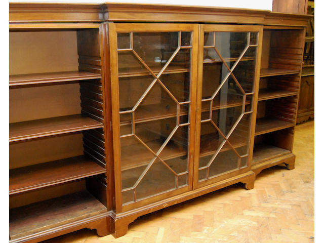 A large mahogany and glazed dwarf breakfront bookcase, early 20th Century