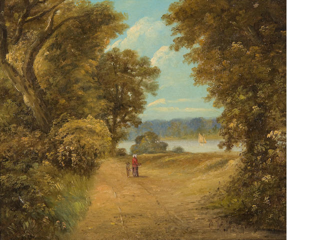 Christopher Mark Maskell (1846-1933) Figures on a river path