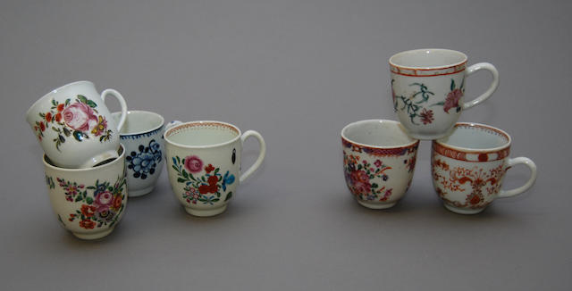 A collection of fifteen English and Chinese coffee cups, circa 1770-1800