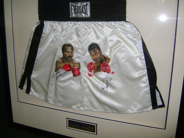 Ken Norton/Larry Holmes hand signed/hand painted boxing shorts
