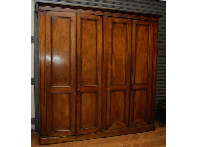 A mahogany four-door wardrobe, mid-19th Century