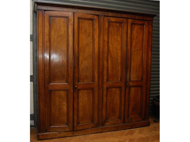 A mahogany four-door wardrobe, mid-19th Century