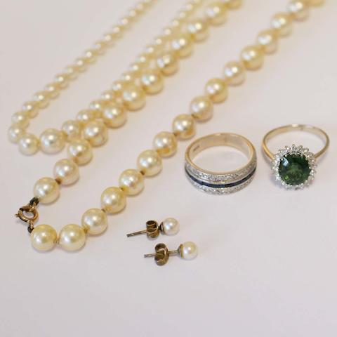 A sapphire and diamond three row half hoop ring,