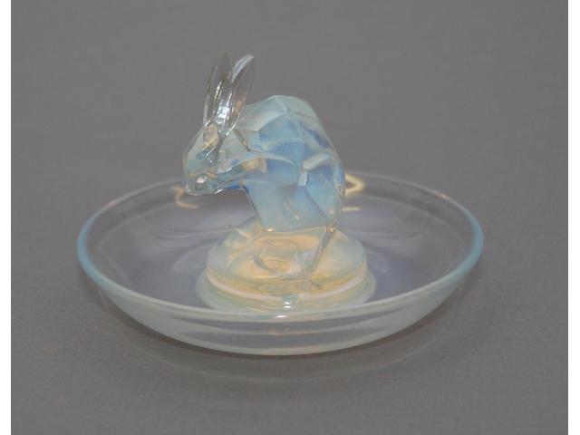 A blue Lalique pin bowl