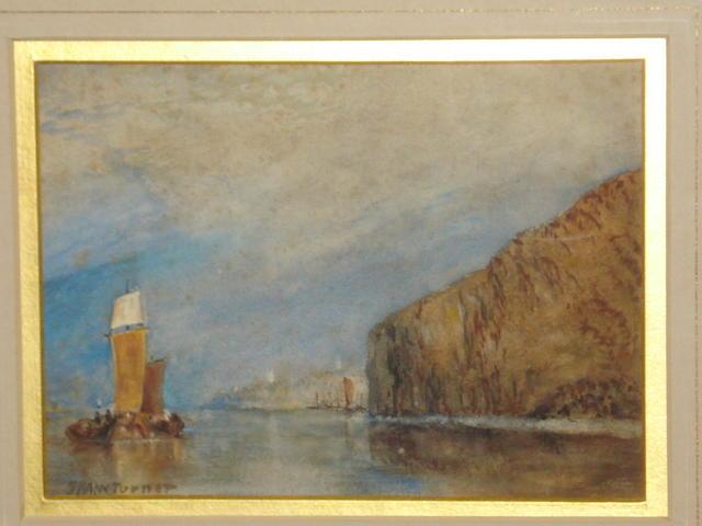 Follower of Joseph Mallord William Turner, RA (British, 1775-1851) Coastal scene with barges in a calm sea,