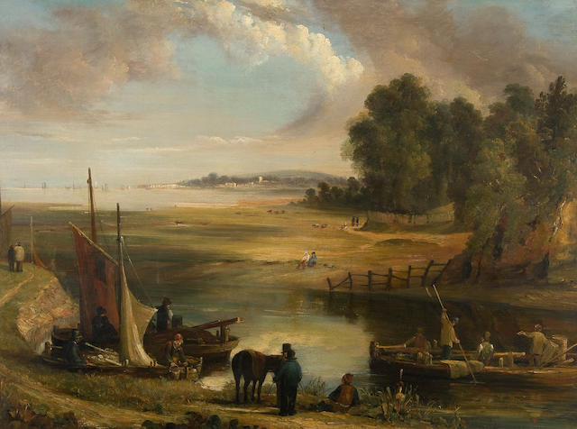 Follower of George Vincent (British, 1796-1831) Estuary landscape with figures
