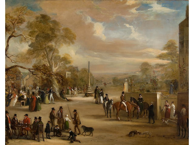John Ferneley Jr. (British, 1815-1862) The Hunt meet, Asterby, Lincolnshire