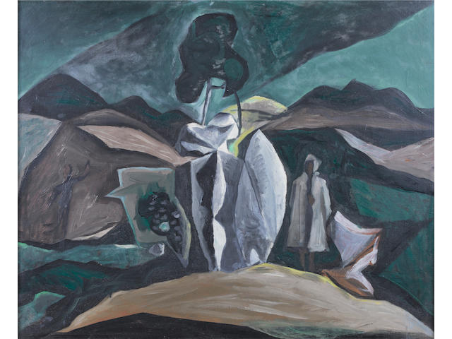 John Craxton R.A. (British, born 1922) Greek landscape 68 x 84 cm. (26 3/4 x 33 in.)