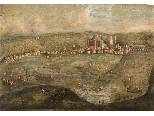 English School, late 17th Century The English Fleet on The Medway at Rochester