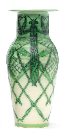A Sally Tuffin small Etruscan 'Praying Mantis' Vase, Dated 2005