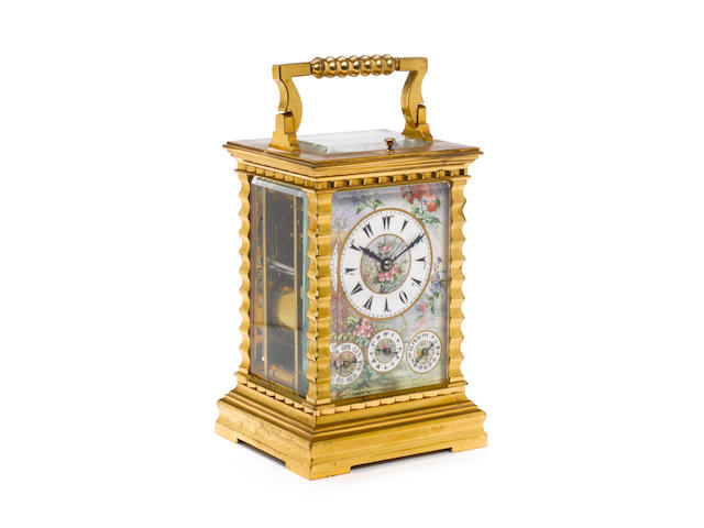 A late 19th century French brass bell-striking carriage clock made for the Turkish market