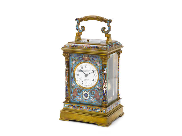 A good late 19th century French enamel decorated repeating carriage clock  Goldsmiths & Silversmiths Co, 112 Regent St., London,