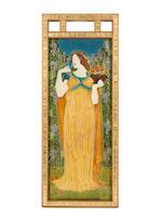 Walter Crane for Pilkington Royal Lancastrian 'The Senses' three important framed Exhibition Tiles, circa 1900