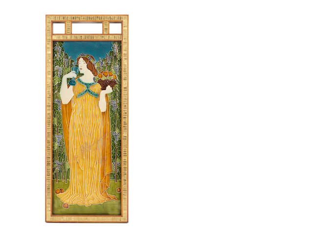 Walter Crane for Pilkington Royal Lancastrian  'The Senses' three extremely rare, large framed Exhibition Tiles, circa 1900