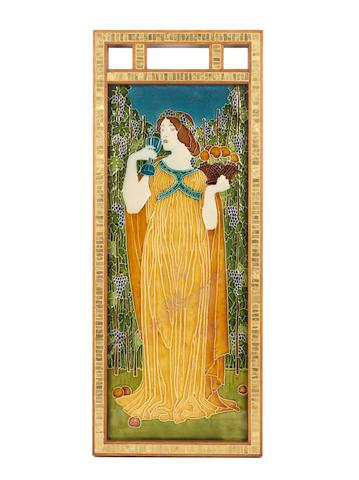 Walter Crane for Pilkington Royal Lancastrian  'The Senses' three extremely rare, large framed Exhibition Tiles, circa 1900