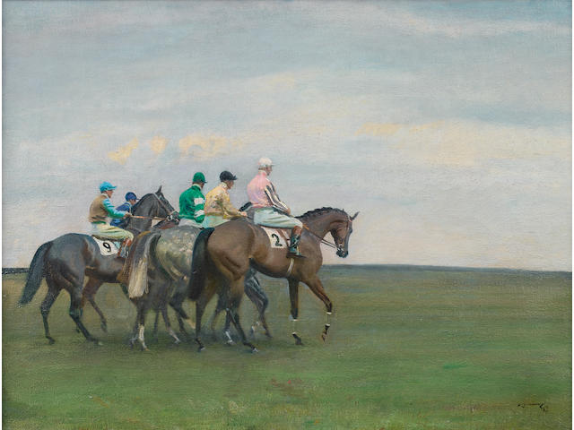 Sir Alfred James Munnings P.R.A., R.W.S. (British, 1878-1959) The Start, Newmarket 46 x 61.5 cm. (18 1/8 x 24 1/4 in.)