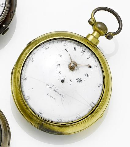 Charles Duplock. An early 19th century gilt metal pair cased pocket watch Cuvette and and movement numbered 526