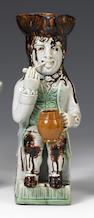 A Staffordshire pearlware 'Thin Man' Toby Jug circa 1780