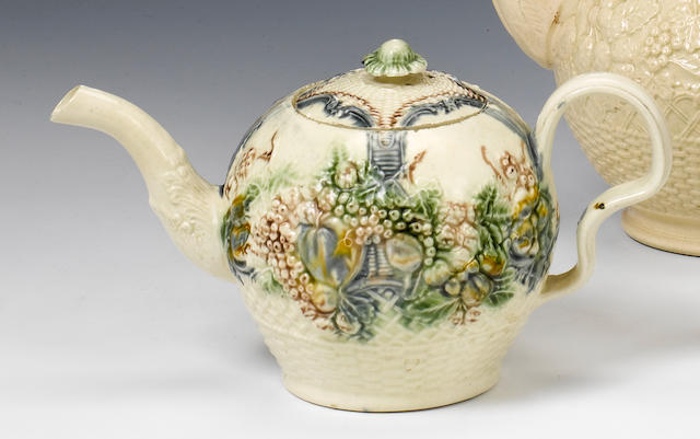 A William Greatbatch moulded creamware teapot and cover circa 1765-70