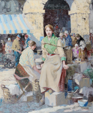 William Lee Hankey (British, 1869-1952) French market 61 x 50.8 cm. (24 x 20 in.)